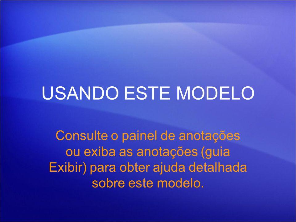 USANDO ESTE MODELO Consulte o painel de anotações ou exiba as anotações (guia Exibir) para obter ajuda detalhada sobre este modelo.