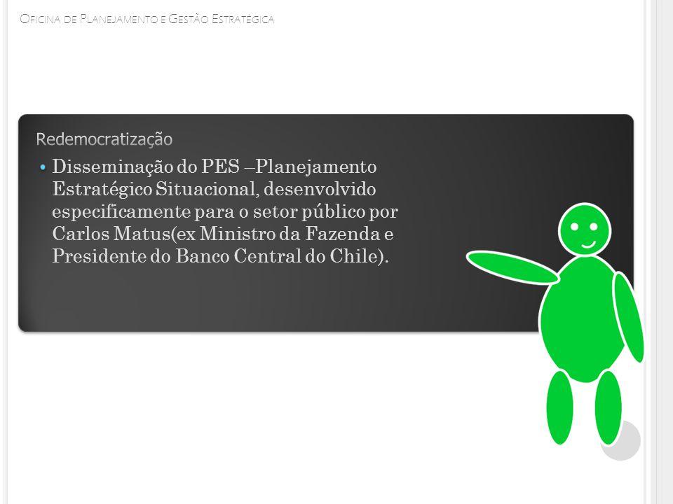 O FICINA DE P LANEJAMENTO E G ESTÃO E STRATÉGICA Disseminação do PES –Planejamento Estratégico Situacional, desenvolvido especificamente para o setor público por Carlos Matus(ex Ministro da Fazenda e Presidente do Banco Central do Chile).