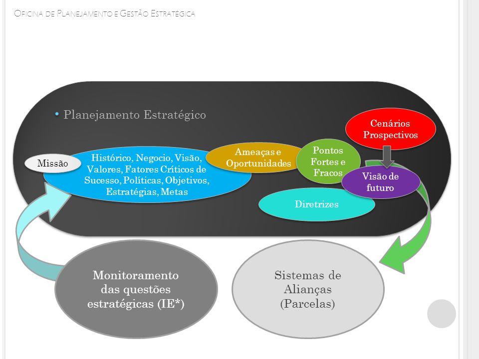 Histórico, Negocio, Visão, Valores, Fatores Críticos de Sucesso, Políticas, Objetivos, Estratégias, Metas Missão Planejamento Estratégico Ameaças e Oportunidades Pontos Fortes e Fracos Diretrizes Cenários Prospectivos Cenários Prospectivos Monitoramento das questões estratégicas (IE*) Sistemas de Alianças (Parcelas) Visão de futuro
