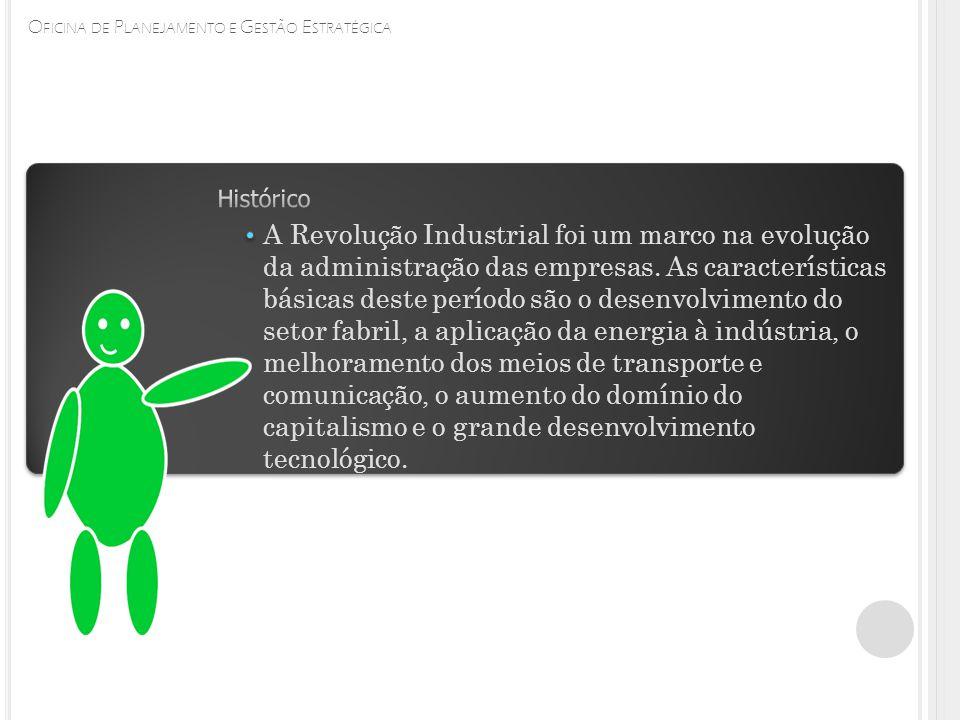 O FICINA DE P LANEJAMENTO E G ESTÃO E STRATÉGICA A Revolução Industrial foi um marco na evolução da administração das empresas. As características bás