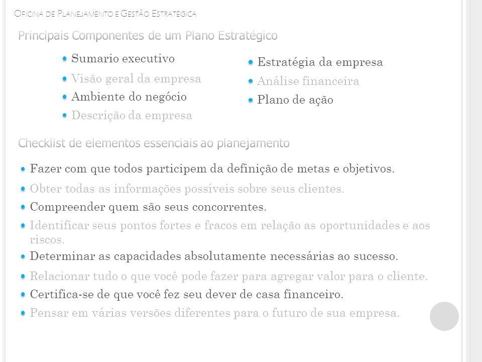 O FICINA DE P LANEJAMENTO E G ESTÃO E STRATÉGICA Sumario executivo Visão geral da empresa Ambiente do negócio Descrição da empresa Estratégia da empresa Análise financeira Plano de ação Fazer com que todos participem da definição de metas e objetivos.