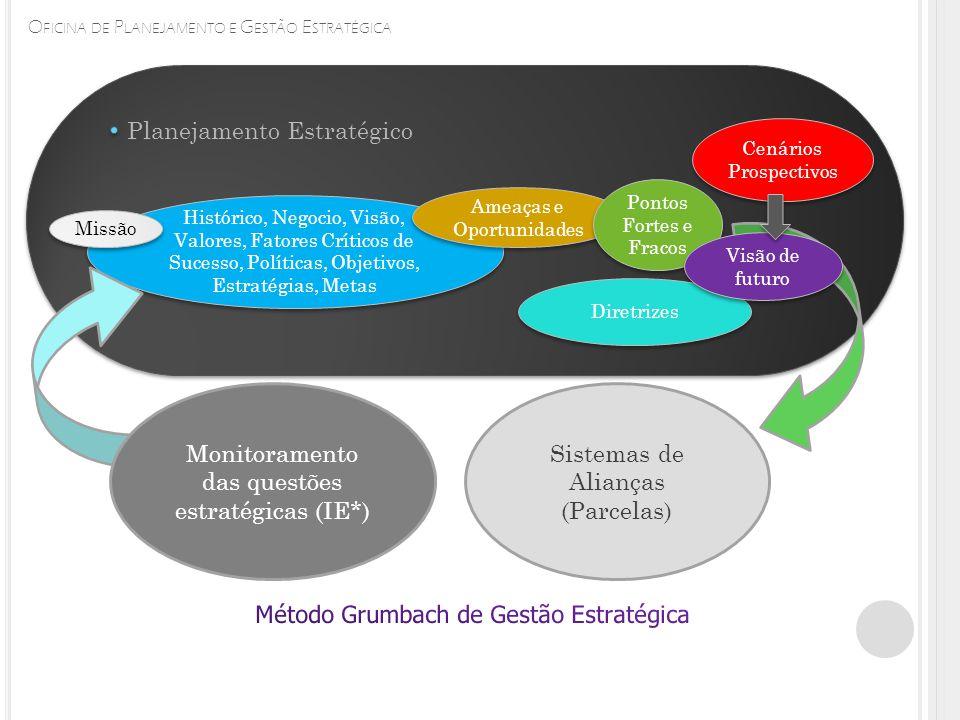 O FICINA DE P LANEJAMENTO E G ESTÃO E STRATÉGICA Histórico, Negocio, Visão, Valores, Fatores Críticos de Sucesso, Políticas, Objetivos, Estratégias, Metas Missão Planejamento Estratégico Ameaças e Oportunidades Pontos Fortes e Fracos Diretrizes Cenários Prospectivos Cenários Prospectivos Monitoramento das questões estratégicas (IE*) Sistemas de Alianças (Parcelas) Visão de futuro