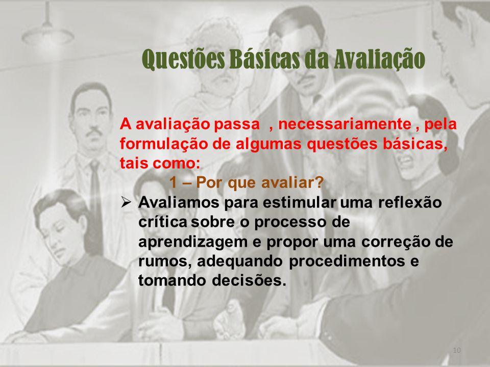 10 Questões Básicas da Avaliação A avaliação passa, necessariamente, pela formulação de algumas questões básicas, tais como: 1 – Por que avaliar.