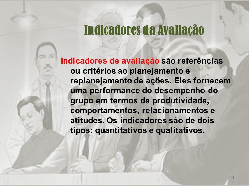 14 Indicadores da Avaliação Indicadores de avaliação são referências ou critérios ao planejamento e replanejamento de ações.