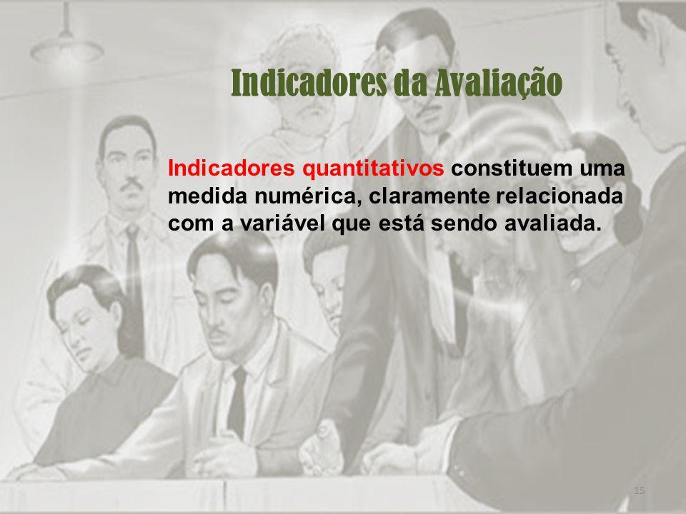 15 Indicadores da Avaliação Indicadores quantitativos constituem uma medida numérica, claramente relacionada com a variável que está sendo avaliada.