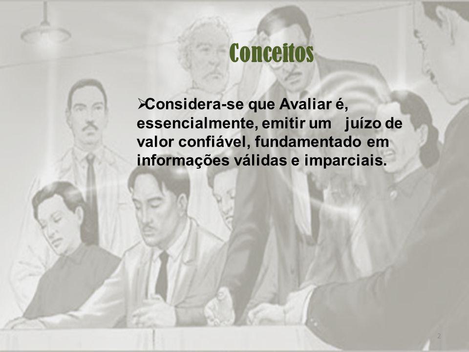 2 Conceitos Considera-se que Avaliar é, essencialmente, emitir um juízo de valor confiável, fundamentado em informações válidas e imparciais.