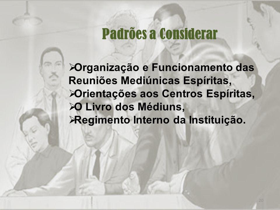20 Padrões a Considerar Organização e Funcionamento das Reuniões Mediúnicas Espíritas, Orientações aos Centros Espíritas, O Livro dos Médiuns, Regimento Interno da Instituição.