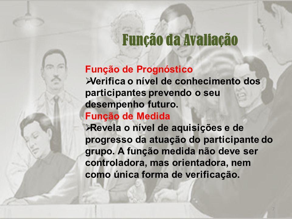 7 Função da Avaliação Função de Prognóstico Verifica o nível de conhecimento dos participantes prevendo o seu desempenho futuro.