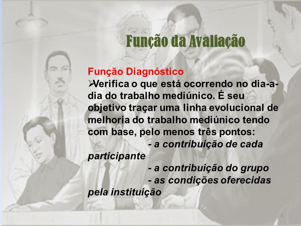 8 Função da Avaliação Função Diagnóstico Verifica o que está ocorrendo no dia-a- dia do trabalho mediúnico.
