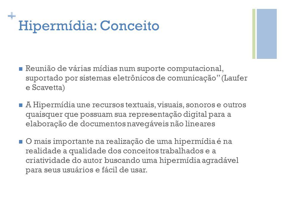 + Hipermídia: Conceito Reunião de várias mídias num suporte computacional, suportado por sistemas eletrônicos de comunicação (Laufer e Scavetta) A Hip
