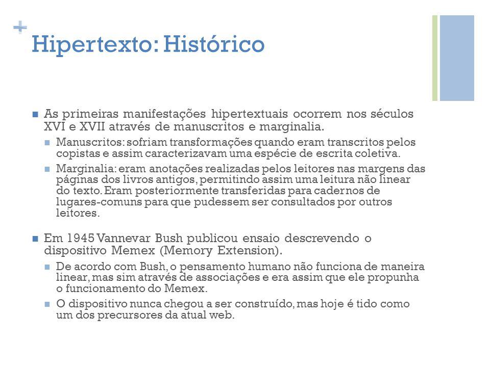 + Hipertexto: Histórico As primeiras manifestações hipertextuais ocorrem nos séculos XVI e XVII através de manuscritos e marginalia. Manuscritos: sofr