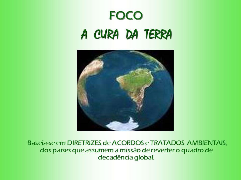 A CURA DA TERRA A CURA DA TERRA FOCO Baseia-se em DIRETRIZES de ACORDOS e TRATADOS AMBIENTAIS, dos paises que assumem a missão de reverter o quadro de decadência global.