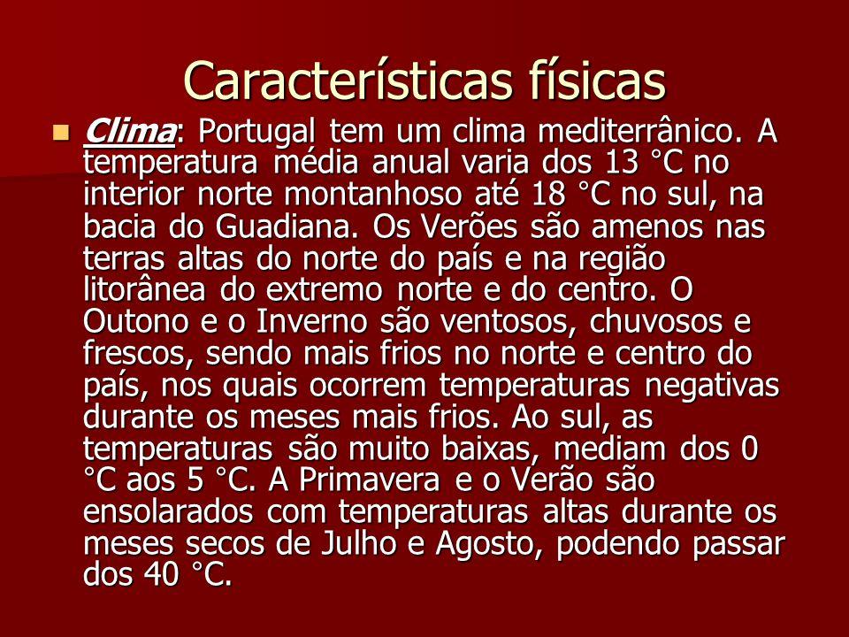 Características físicas Clima: Portugal tem um clima mediterrânico. A temperatura média anual varia dos 13 °C no interior norte montanhoso até 18 °C n