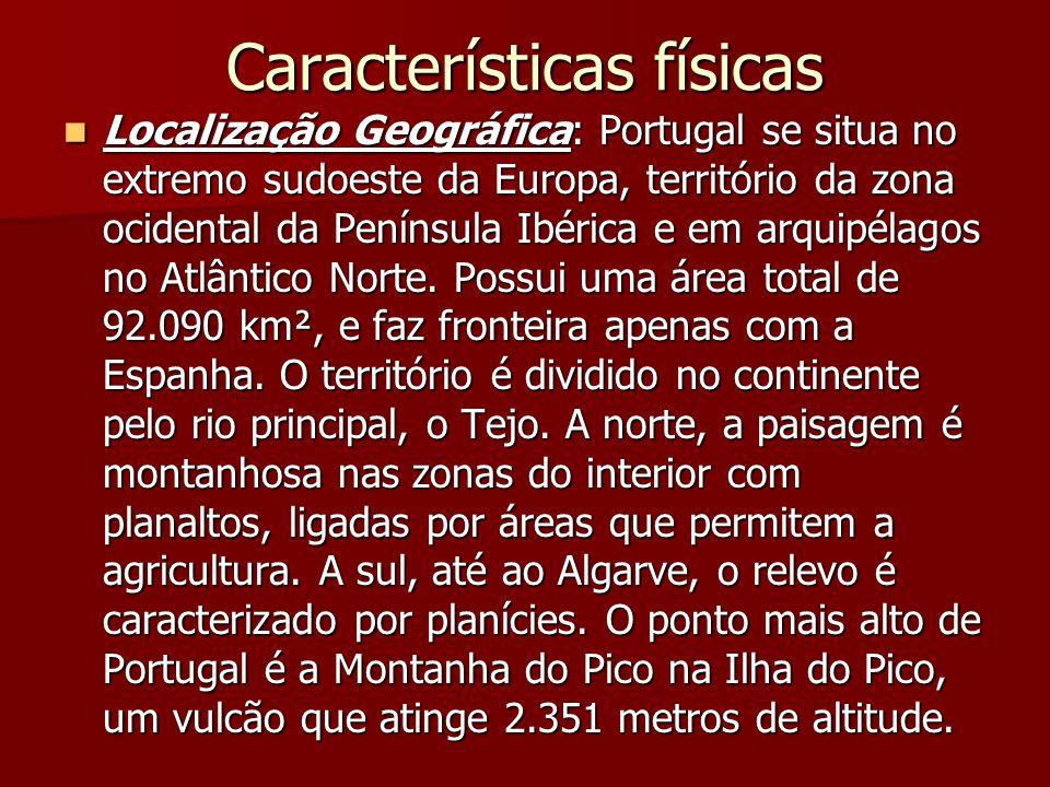 Características físicas Localização Geográfica: Portugal se situa no extremo sudoeste da Europa, território da zona ocidental da Península Ibérica e e