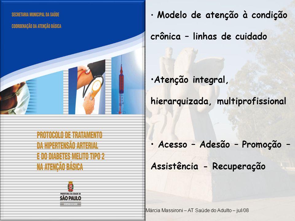 Modelo de atenção à condição crônica – linhas de cuidado Atenção integral, hierarquizada, multiprofissional Acesso – Adesão – Promoção – Assistência -