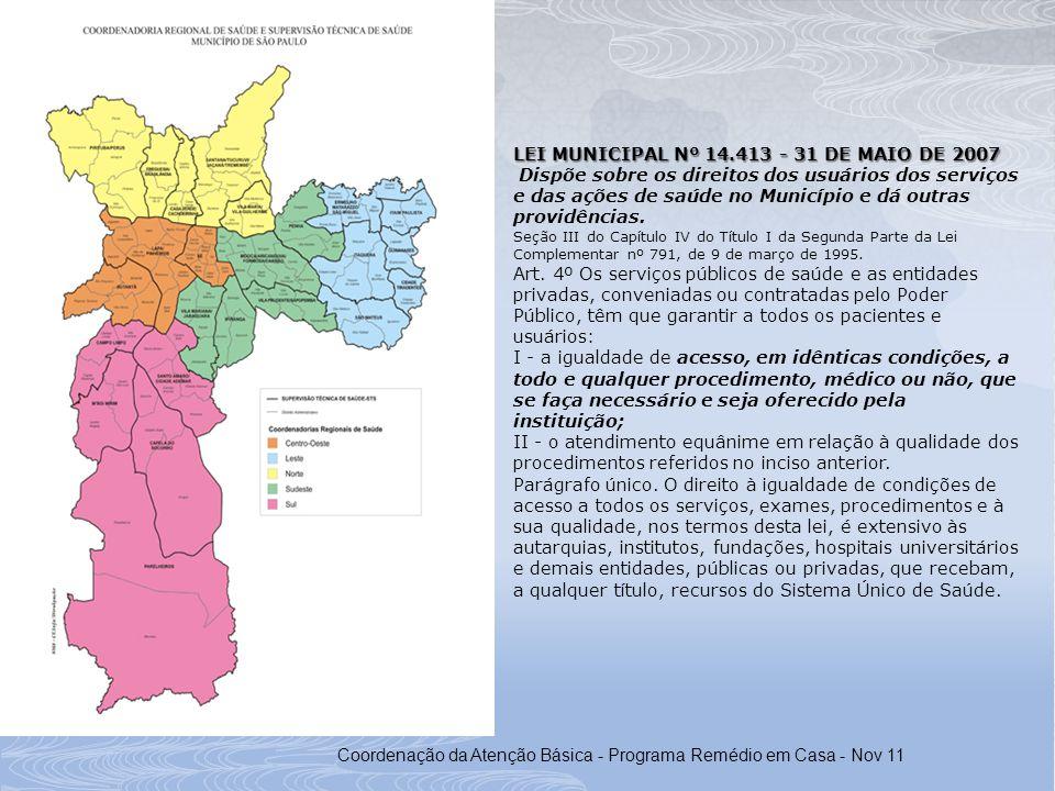 Coordenação da Atenção Básica - Programa Remédio em Casa - Nov 11 LEI MUNICIPAL Nº 14.413 - 31 DE MAIO DE 2007 Dispõe sobre os direitos dos usuários d