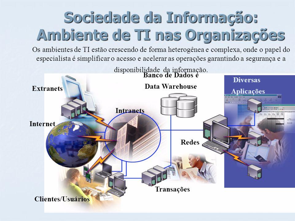 Sociedade da Informação: Ambiente de TI nas Organizações Banco de Dados e Data Warehouse Transações Redes Diversas Aplicações Clientes/Usuários Intern