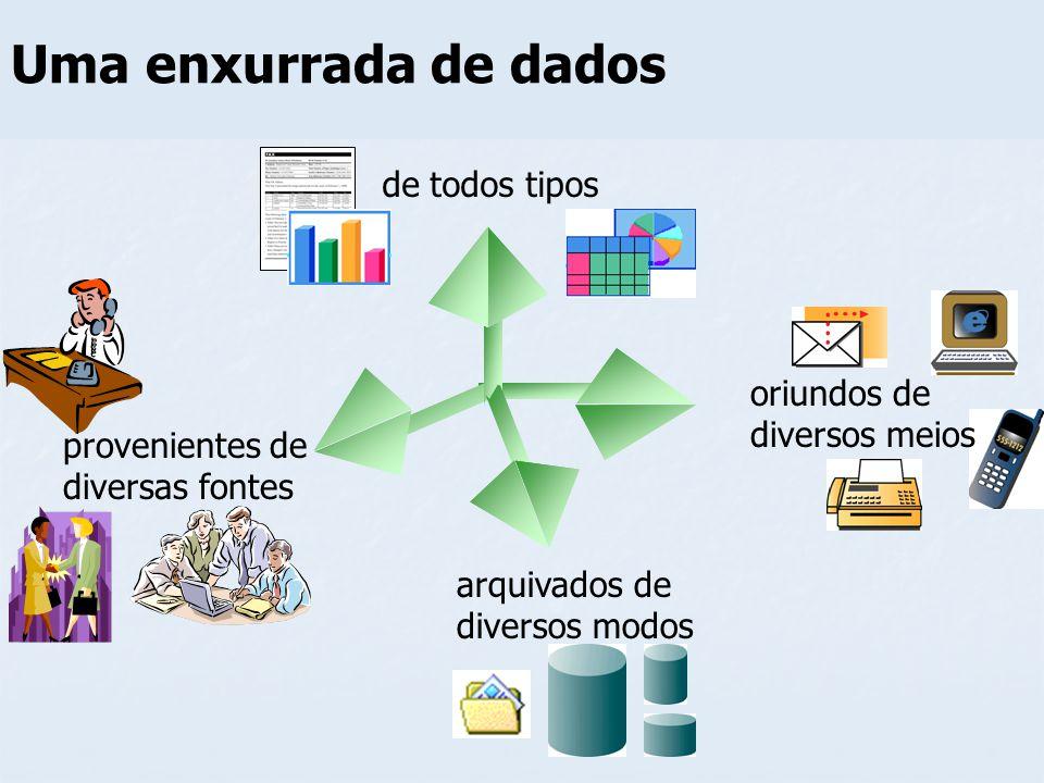 Uma enxurrada de dados de todos tipos provenientes de diversas fontes arquivados de diversos modos oriundos de diversos meios