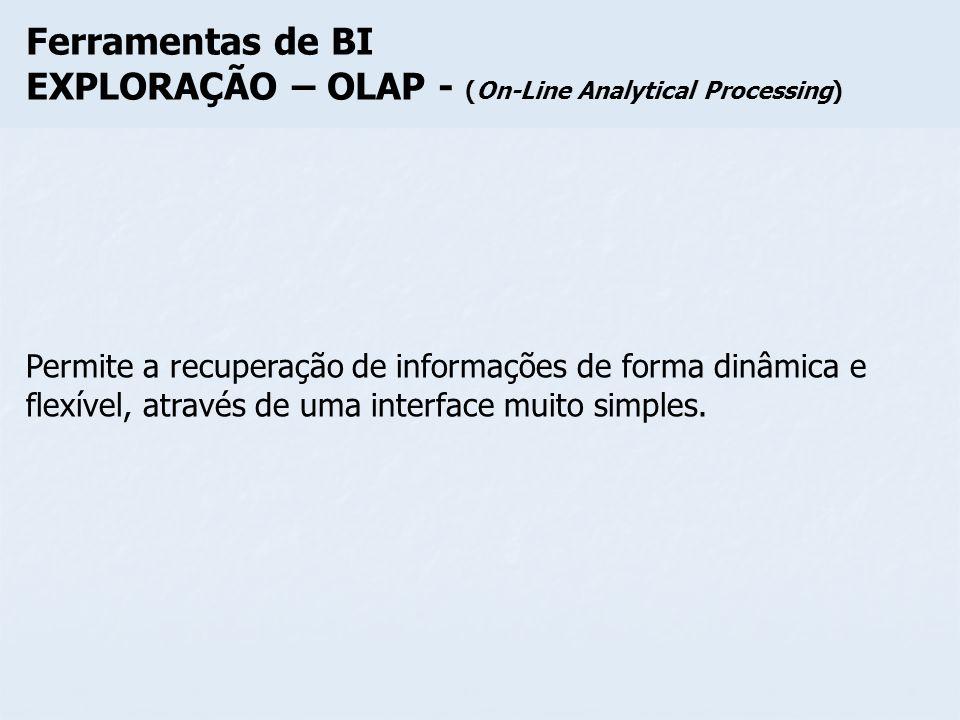 Ferramentas de BI EXPLORAÇÃO – OLAP - (On-Line Analytical Processing) Permite a recuperação de informações de forma dinâmica e flexível, através de um