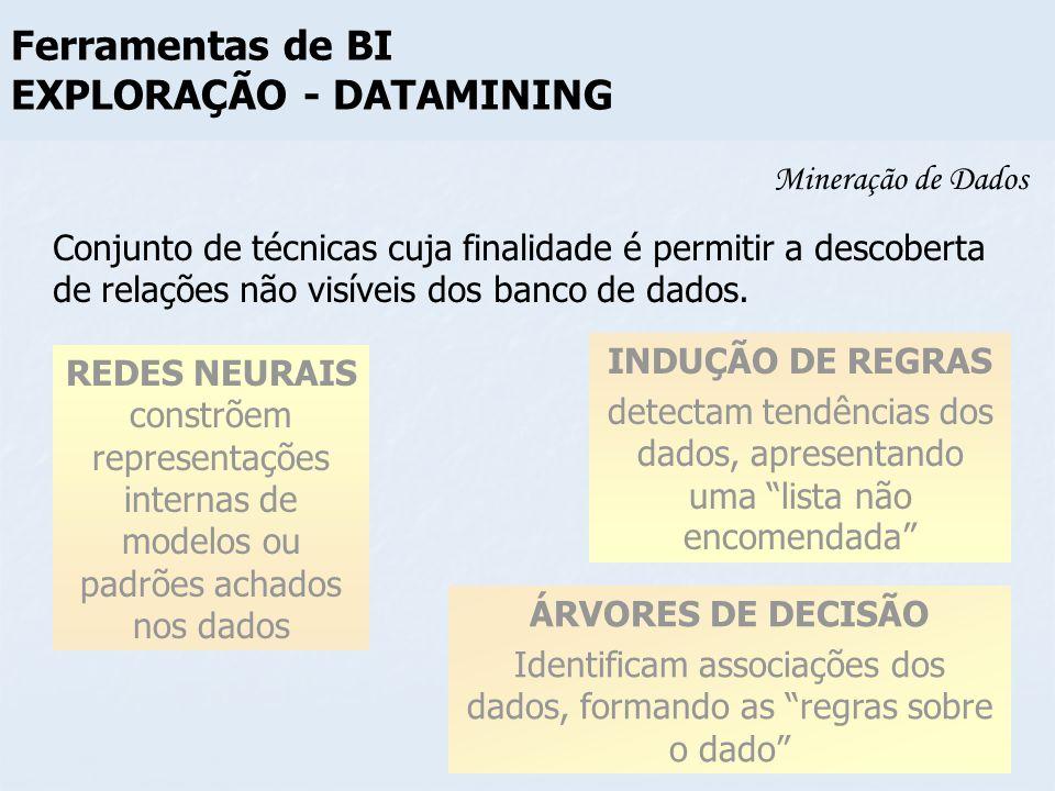 Mineração de Dados REDES NEURAIS constrõem representações internas de modelos ou padrões achados nos dados ÁRVORES DE DECISÃO Identificam associações
