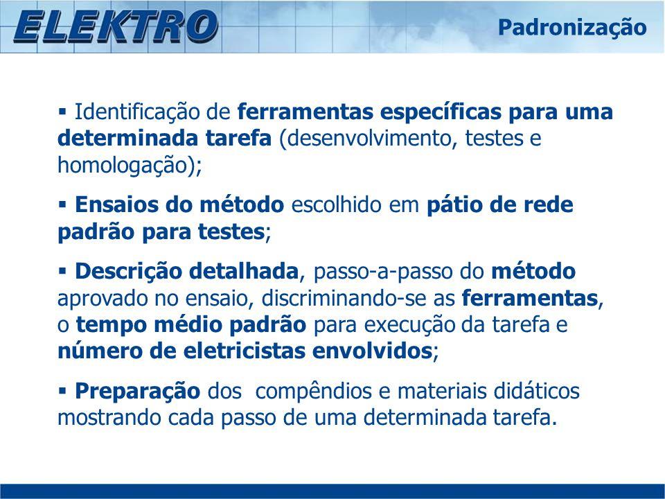 Identificação de ferramentas específicas para uma determinada tarefa (desenvolvimento, testes e homologação); Ensaios do método escolhido em pátio de