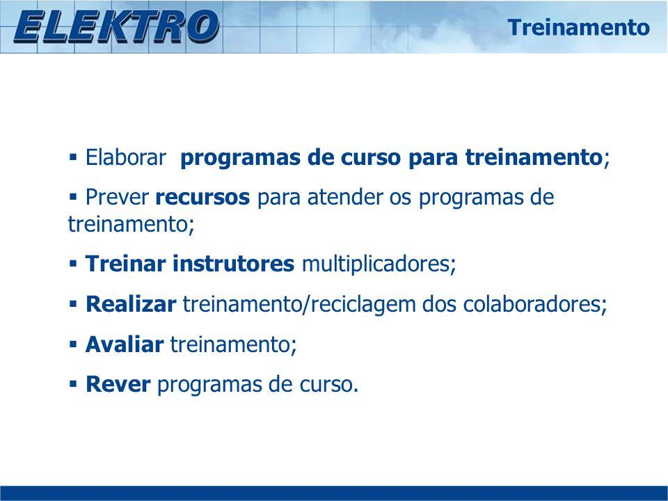 Elaborar programas de curso para treinamento; Prever recursos para atender os programas de treinamento; Treinar instrutores multiplicadores; Realizar