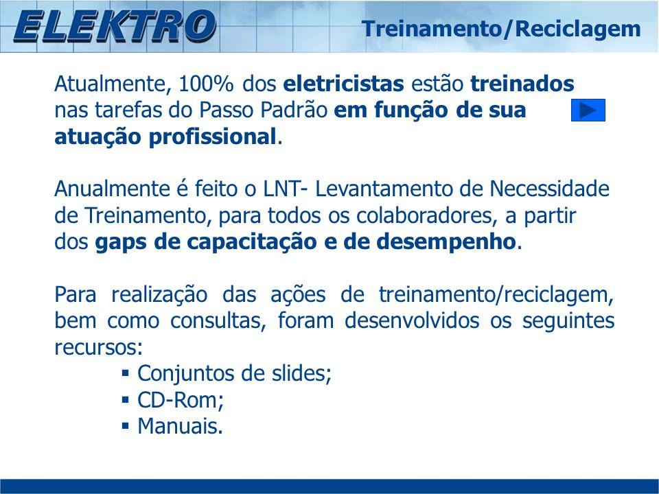 Atualmente, 100% dos eletricistas estão treinados nas tarefas do Passo Padrão em função de sua atuação profissional. Anualmente é feito o LNT- Levanta