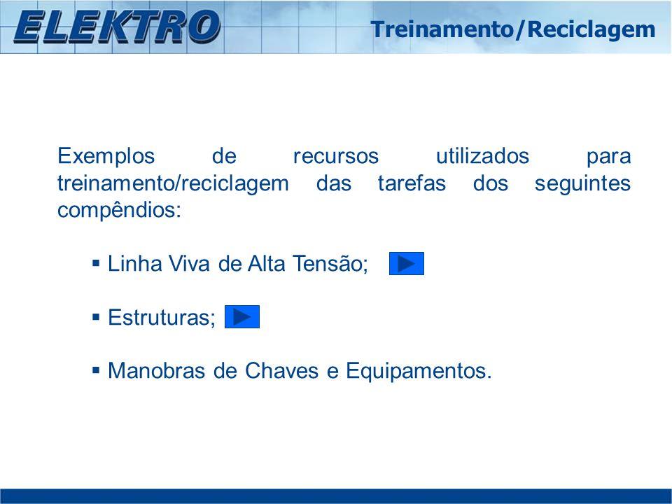 Exemplos de recursos utilizados para treinamento/reciclagem das tarefas dos seguintes compêndios: Linha Viva de Alta Tensão; Estruturas; Manobras de C