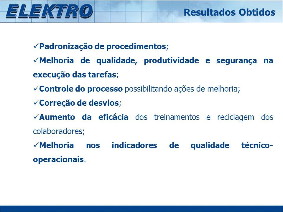 Padronização de procedimentos; Melhoria de qualidade, produtividade e segurança na execução das tarefas; Controle do processo possibilitando ações de