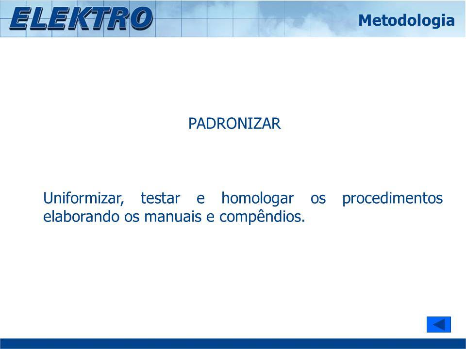 PADRONIZAR Uniformizar, testar e homologar os procedimentos elaborando os manuais e compêndios. Metodologia
