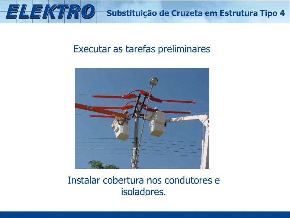 Executar as tarefas preliminares Instalar cobertura nos condutores e isoladores. Substituição de Cruzeta em Estrutura Tipo 4