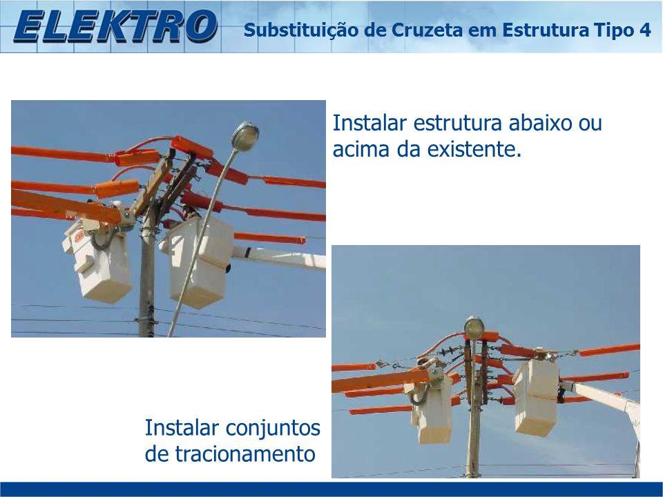 Instalar estrutura abaixo ou acima da existente. Instalar conjuntos de tracionamento Substituição de Cruzeta em Estrutura Tipo 4