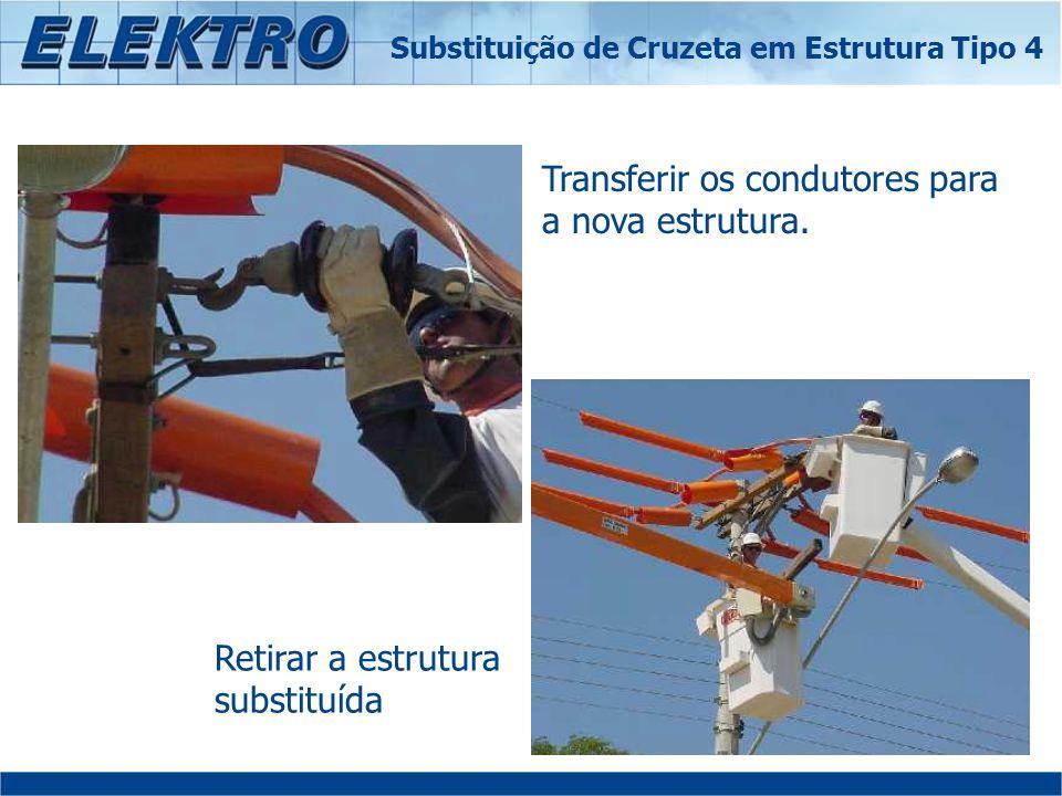 Transferir os condutores para a nova estrutura. Retirar a estrutura substituída Substituição de Cruzeta em Estrutura Tipo 4