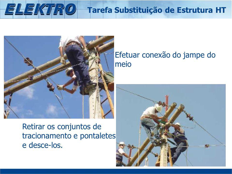 Efetuar conexão do jampe do meio Retirar os conjuntos de tracionamento e pontaletes e desce-los. Tarefa Substituição de Estrutura HT