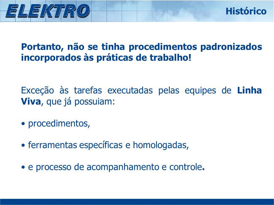 Atualmente, 100% dos eletricistas estão treinados nas tarefas do Passo Padrão em função de sua atuação profissional.