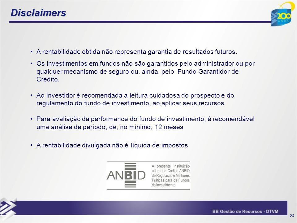 23 Disclaimers A rentabilidade obtida não representa garantia de resultados futuros. Os investimentos em fundos não são garantidos pelo administrador