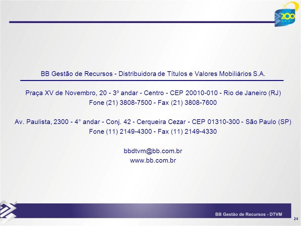 24 BB Gestão de Recursos - Distribuidora de Títulos e Valores Mobiliários S.A. Praça XV de Novembro, 20 - 3º andar - Centro - CEP 20010-010 - Rio de J
