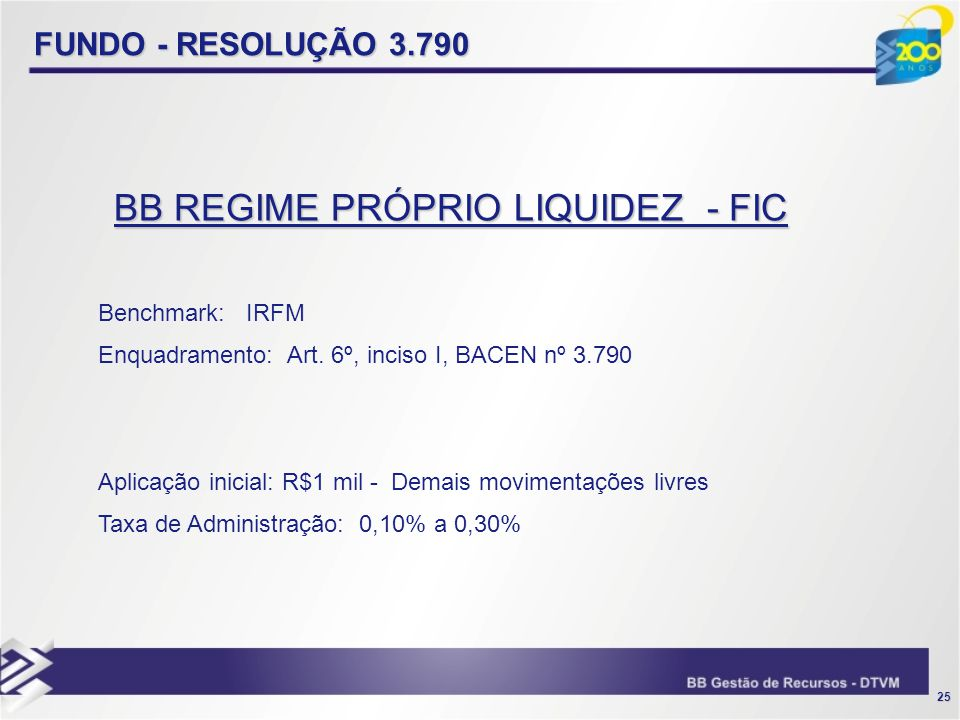 25 FUNDO - RESOLUÇÃO 3.790 Benchmark: IRFM Enquadramento: Art. 6º, inciso I, BACEN nº 3.790 Aplicação inicial: R$1 mil - Demais movimentações livres T