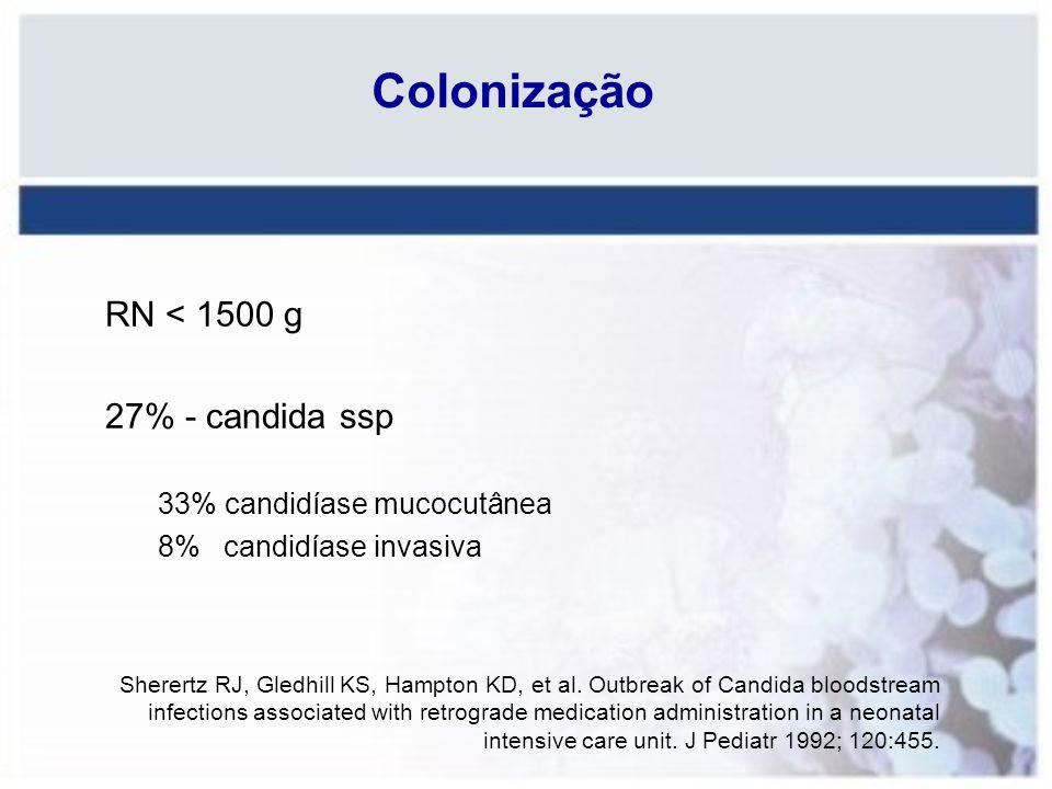 Colonização RN < 1500 g 27% - candida ssp 33% candidíase mucocutânea 8% candidíase invasiva Sherertz RJ, Gledhill KS, Hampton KD, et al. Outbreak of C