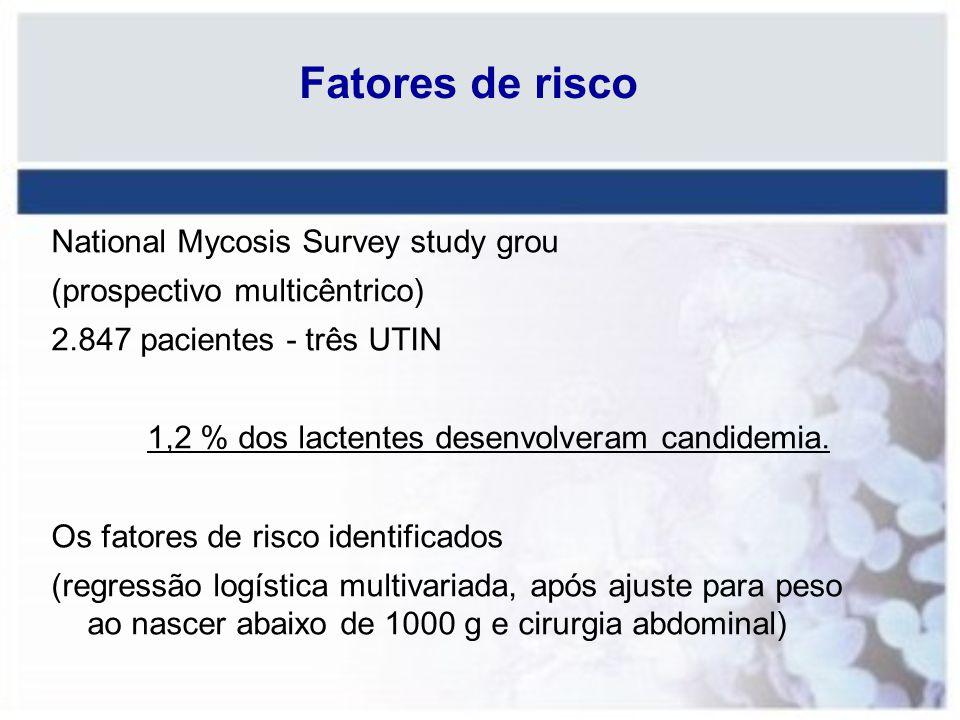 Fatores de risco National Mycosis Survey study grou (prospectivo multicêntrico) 2.847 pacientes - três UTIN 1,2 % dos lactentes desenvolveram candidem
