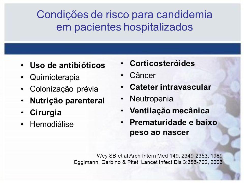 Condições de risco para candidemia em pacientes hospitalizados Wey SB et al Arch Intern Med 149: 2349-2353, 1989 Eggimann, Garbino & Pitet Lancet Infe