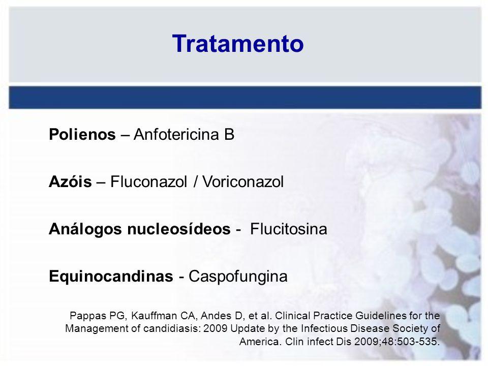 Tratamento Polienos – Anfotericina B Azóis – Fluconazol / Voriconazol Análogos nucleosídeos - Flucitosina Equinocandinas - Caspofungina Pappas PG, Kau