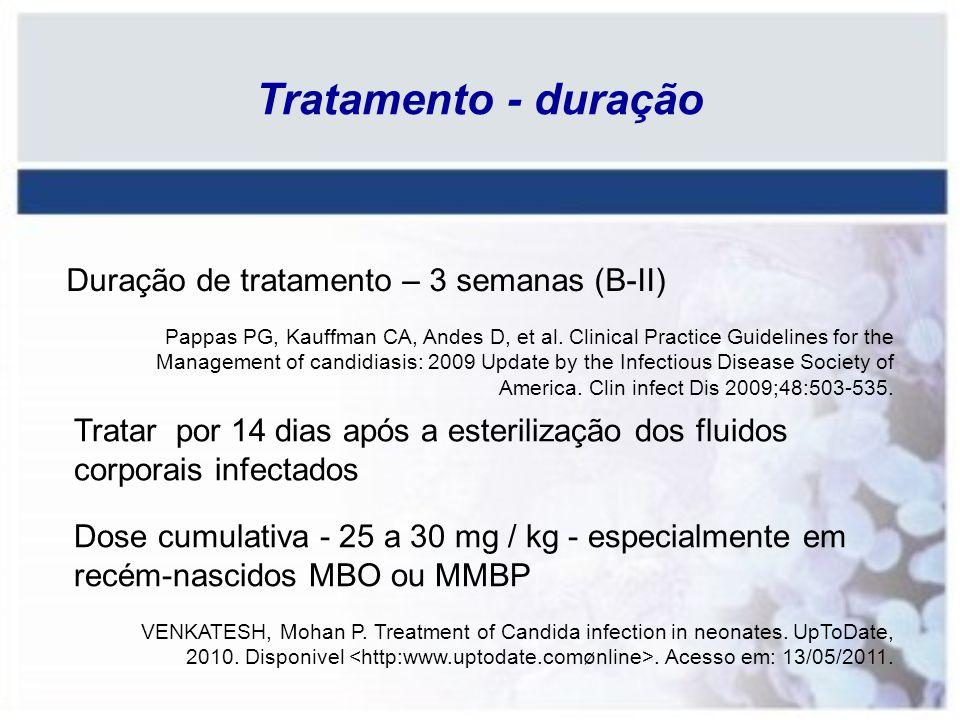Tratamento - duração Tratar por 14 dias após a esterilização dos fluidos corporais infectados Duração de tratamento – 3 semanas (B-II) Dose cumulativa