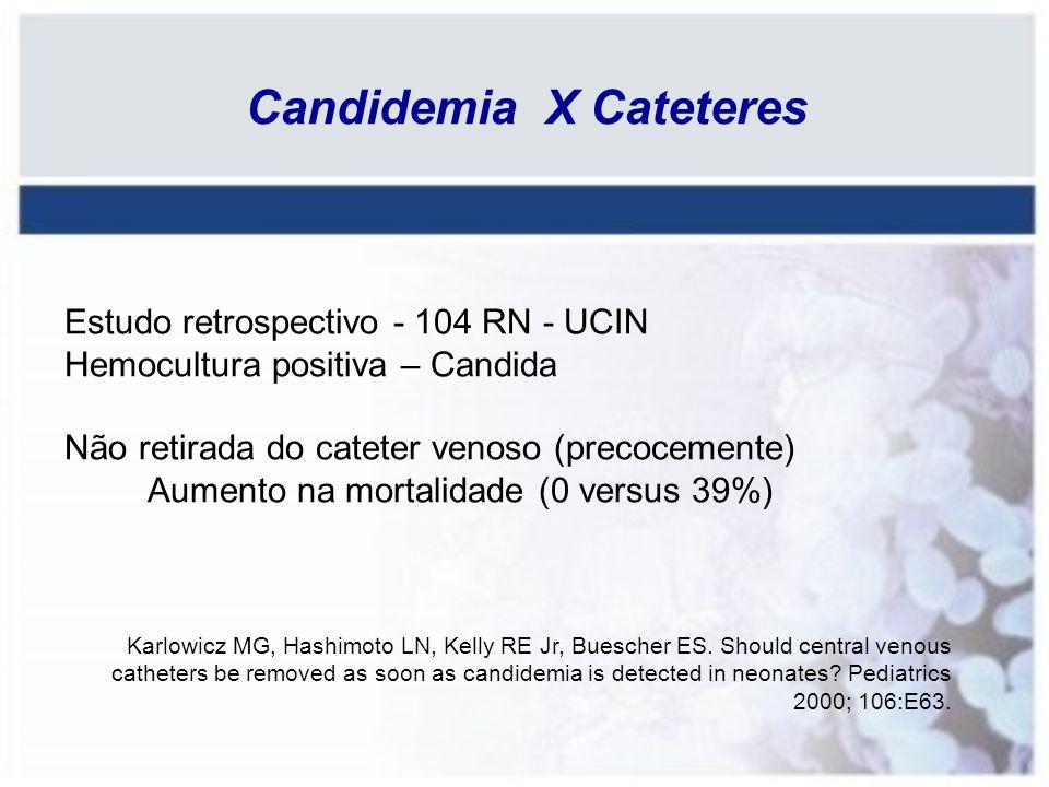 Candidemia X Cateteres Estudo retrospectivo - 104 RN - UCIN Hemocultura positiva – Candida Não retirada do cateter venoso (precocemente) Aumento na mo
