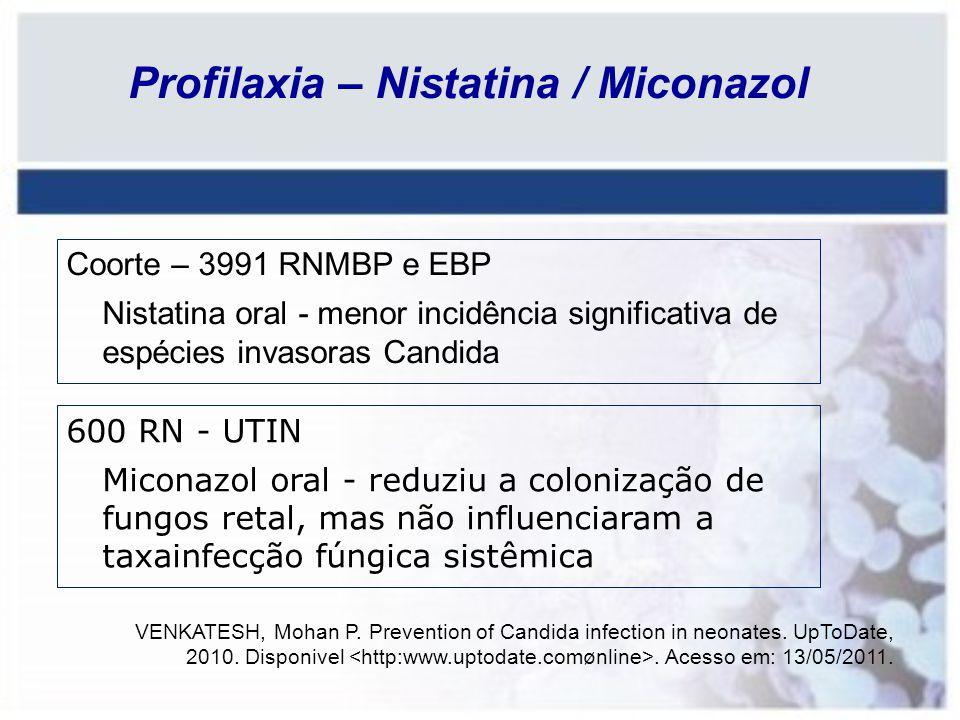 Profilaxia – Nistatina / Miconazol Coorte – 3991 RNMBP e EBP Nistatina oral - menor incidência significativa de espécies invasoras Candida 600 RN - UT