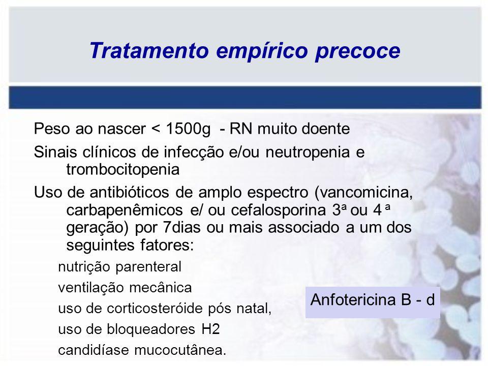 Tratamento empírico precoce Peso ao nascer < 1500g - RN muito doente Sinais clínicos de infecção e/ou neutropenia e trombocitopenia Uso de antibiótico