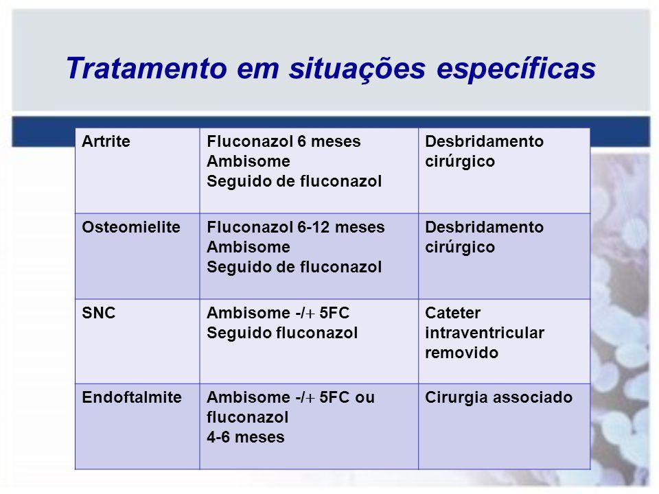 ArtriteFluconazol 6 meses Ambisome Seguido de fluconazol Desbridamento cirúrgico OsteomieliteFluconazol 6-12 meses Ambisome Seguido de fluconazol Desb