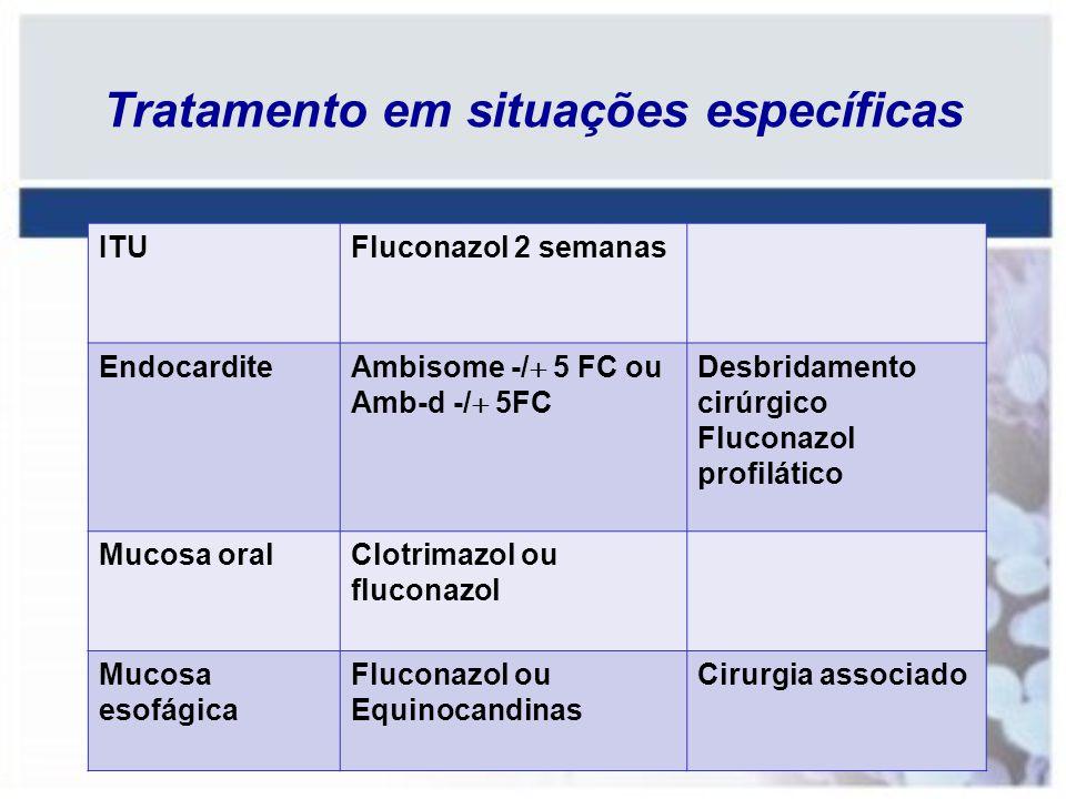 ITUFluconazol 2 semanas Endocardite Ambisome -/ 5 FC ou Amb-d -/ 5FC Desbridamento cirúrgico Fluconazol profilático Mucosa oralClotrimazol ou fluconaz