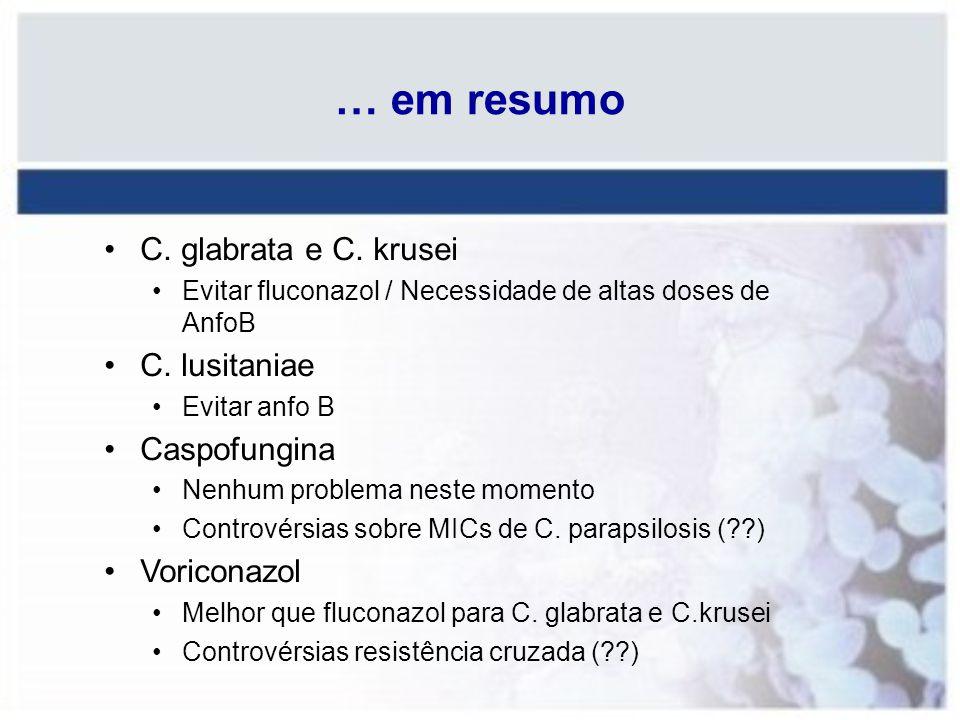 … em resumo C. glabrata e C. krusei Evitar fluconazol / Necessidade de altas doses de AnfoB C. lusitaniae Evitar anfo B Caspofungina Nenhum problema n