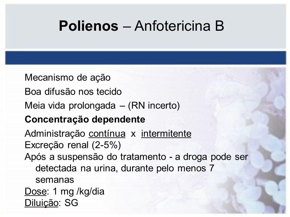 Polienos – Anfotericina B Mecanismo de ação Boa difusão nos tecido Meia vida prolongada – (RN incerto) Concentração dependente Administração contínua